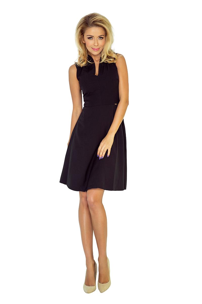 Kleid mit Kragen und Ausschnitt - schwarz 133-2 - Numoco DE