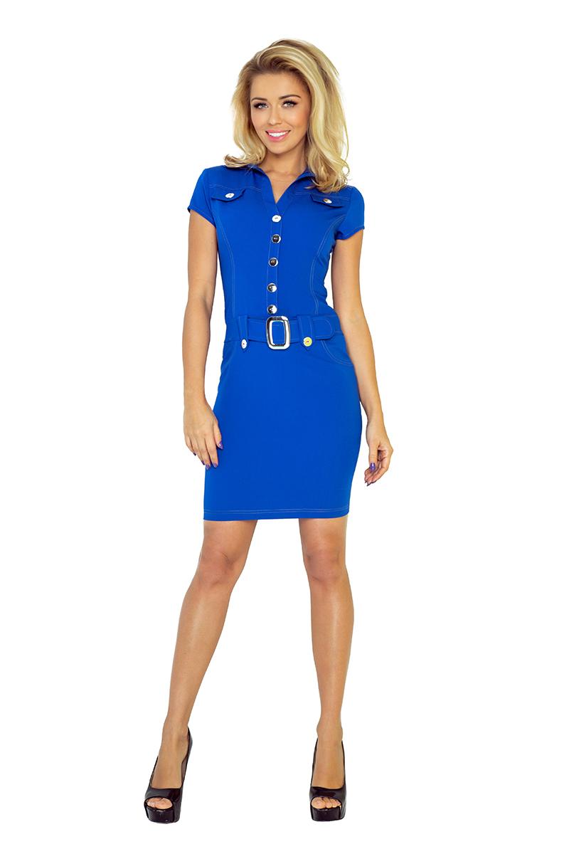 Kleid mit Knöpfen - blau 142-3 - Numoco DE