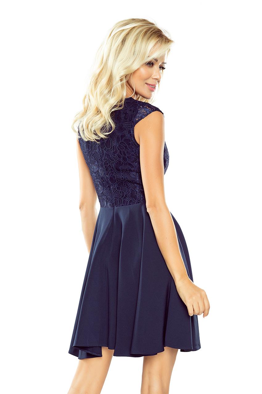 Kleid MARTA mit Spitze- dunkel blau 157-1 - Numoco DE