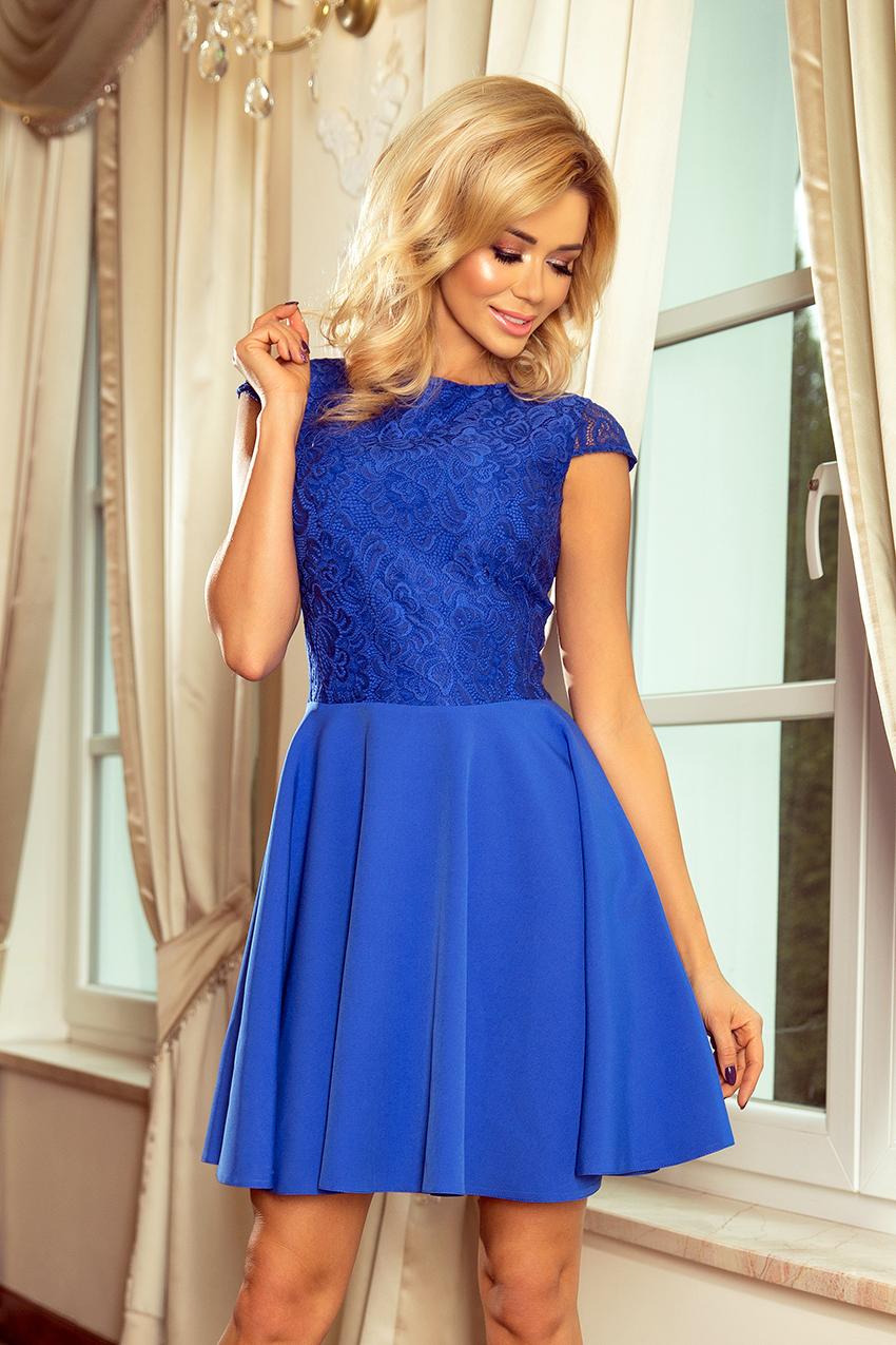157-5 Kleid MARTA mit Spitze - blau :: Numoco DE