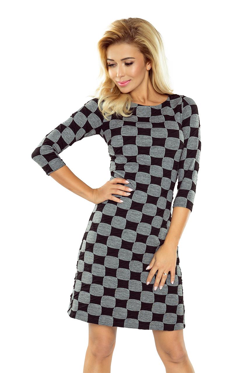 164-1 Kleid mit Trapezrock - schwarzes und graues Gitter ...
