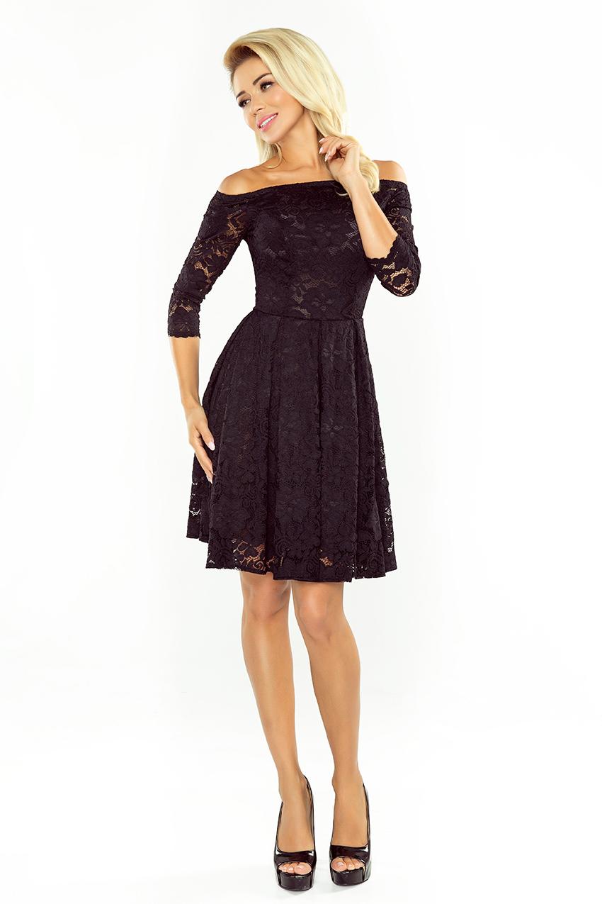 168-1 Kleid mit nackten Schultern - Spitze - schwarz ...