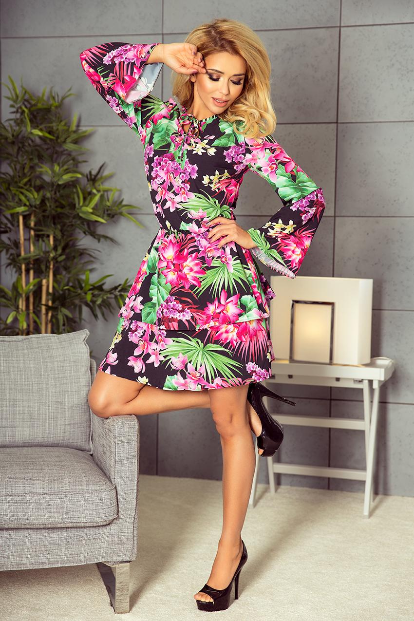 179-2 VIOLA Kleid mit zwei Volants - bunte Blumen - Numoco DE