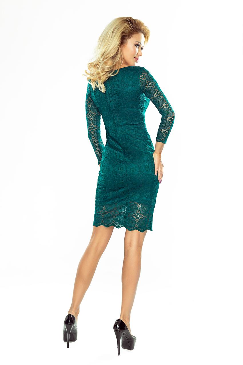 180-2 Kleid mit Spitze - grün - Numoco DE