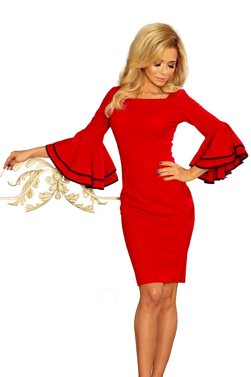 188 1 CARMEN Kleid mit spanischen Ärmeln Rot :: Numoco DE