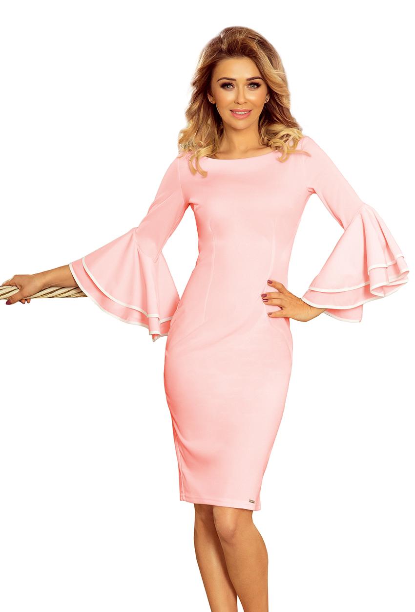 188 4 Carmen Kleid Mit Spanischen Armeln Pastellrosa Numoco De