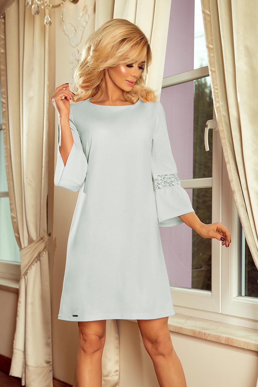 190-5 MARGARET Kleid mit Spitze an den Ärmeln - blau ...