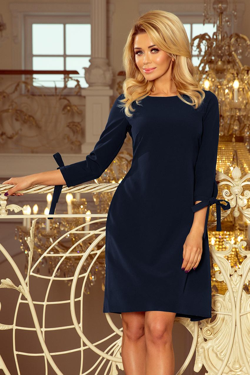 195-5 ALICE Kleid mit Schleifen - dunkelblau - Numoco DE
