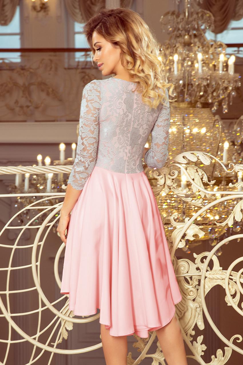 210 5 Nicolle Kleid Mit Langerem Rucken Mit Spitzenausschnitt Pastellrosa Grau Numoco De