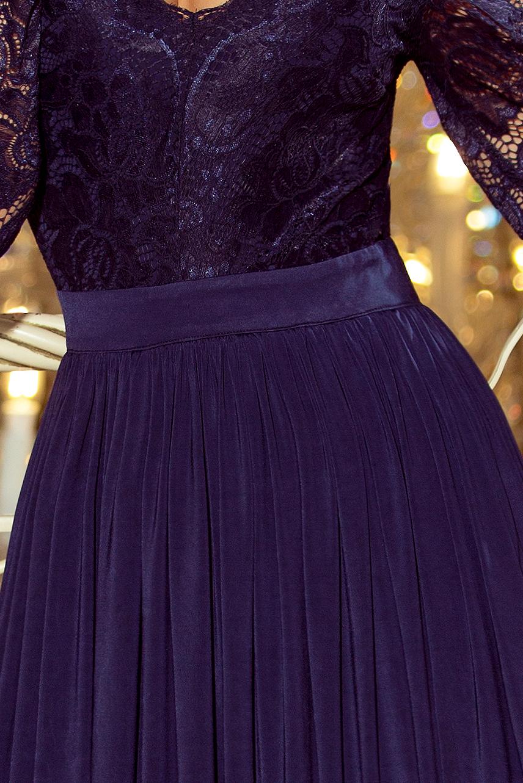 214-1 MADLEN langes Kleid mit Spitzen-Ausschnitt und ...