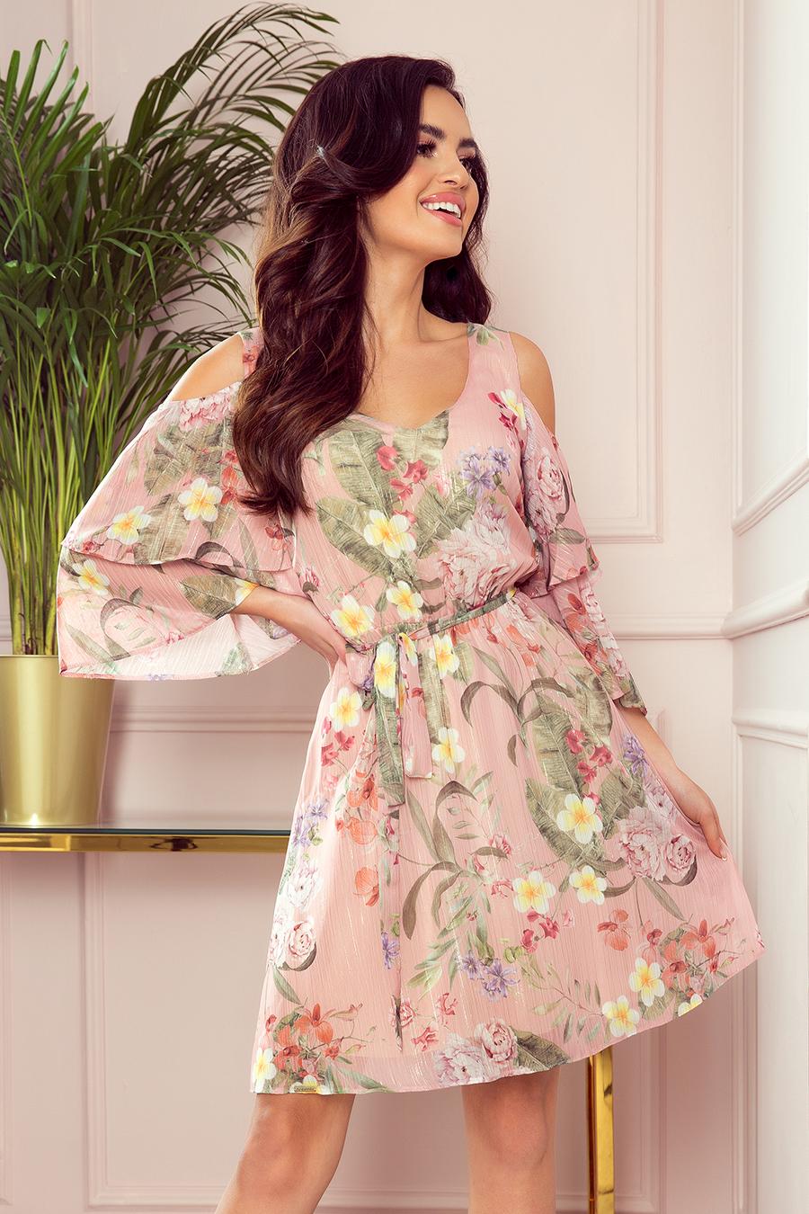 292-1 marina kleid mit ausschnitt - rosa mit blumen