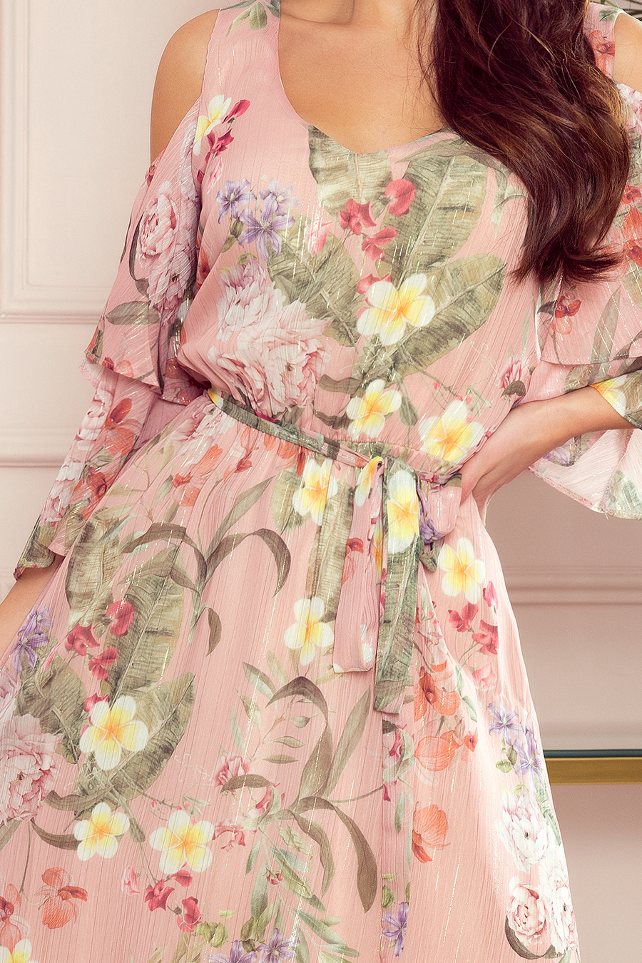 292-1 MARINA Kleid mit Ausschnitt - rosa mit Blumen ...