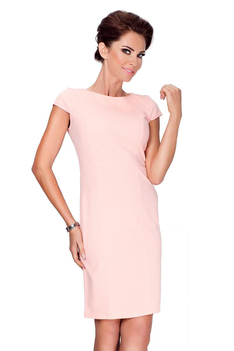37-1 Elegantes Kleid mit kurzen Ärmeln - pfirsich - Numoco DE
