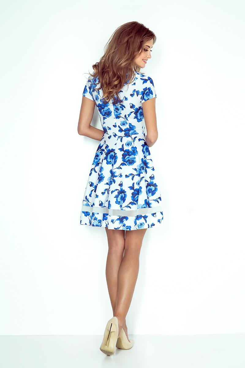 mm 003-3 midi-kleid mit tüll - weiß mit blauen blumen